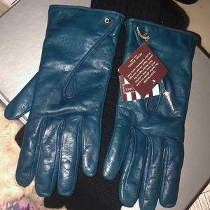 Henri Bendel Star Moon Pin Leather Gloves BLUE NWT
